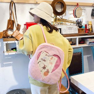 Image of Transparent Heart Furry Backpack