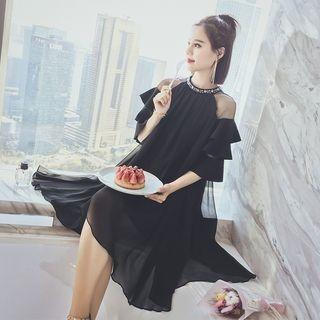 Embellished Mesh Trim Elbow Sleeve Dress 1058425138