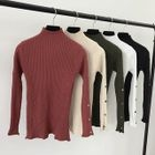 Mock-neck Ribbed Long-Sleeve Top 1596