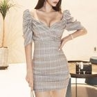 Puff-Sleeve Check Sheath Dress 1596