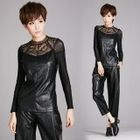 Lace-Panel Faux Leather Top 1596