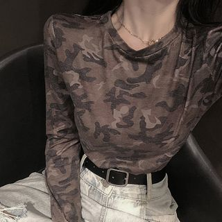 Image of Camo Long-Sleeve T-Shirt Camouflage - One Size