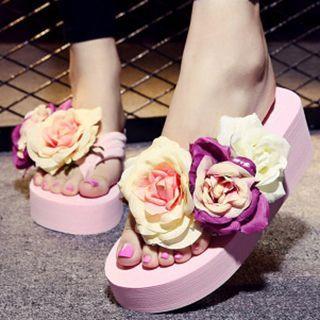 Rose Platform Flip-flops