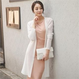 Open-Front Ribbed Long Cardigan 1060590143