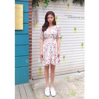 Chiffon   Floral   White   Dress   Wrap   Mini   Size   One