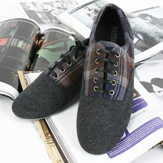 Buy BoynMen Plaid Trim Lace-Up Sneakers 1021883459