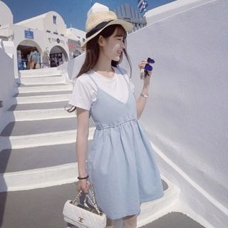 Set: Short-Sleeve T-Shirt + Strappy A-line Dress 1061268025