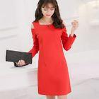 Cutout Shoulder Long-Sleeve A-Line Dress 1596