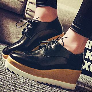Wedge Platform Lace-Up Shoes