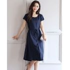 Cap-Sleeve Tie-Waist Dress 1596