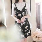 Tie-Waist Floral Mini Jumper Dress 1596