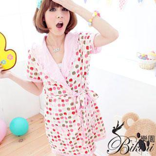 Picture of BiKiNi Wonderland Apple Print Robe + Hair Bands (Pajama Set) 1022885801 (BiKiNi Wonderland Apparel, Womens Innerwear, Taiwan Apparel, Taiwan Innerwear)