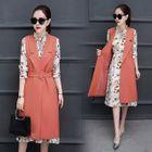 Set: Floral Print A-Line Dress + Notch Lapel Long Vest 1596