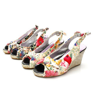 Buy KAWO Sequined Floral Print Wedges 1022788028