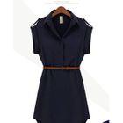 Short-Sleeve V-Neck Chiffon Dress 1596