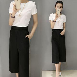Set: Short-Sleeve Top + Cropped Wide Leg Pants 1049218020