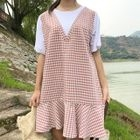 Short-Sleeve Plaid Panel Mini Dress 1596