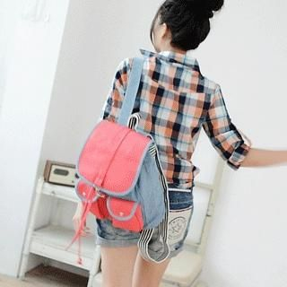 Contrast-Color Denim Panel Backpack