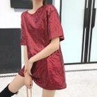 Sequined Short-Sleeve T-Shirt Dress 1596