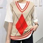 V-Neck Sleeveless Argyle Knit Top 1596