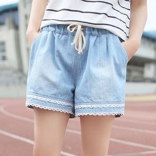 Lace Trim Denim Shorts 1057832211