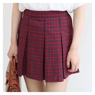 Plaid Pleated Mini A-Line Skirt 1061108478