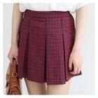 Plaid Pleated Mini A-Line Skirt 1596