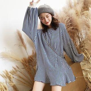 Striped Ruffle Hem Long Sweater 1063617403