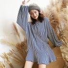 Striped Ruffle Hem Long Sweater 1596