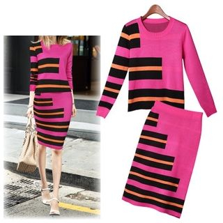 Set: Stripe Long-Sleeve Knit Top + Skirt