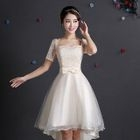 Short-Sleeve High Low Mini Prom Dress 1596
