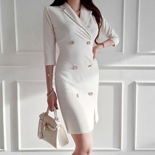 Image of 3/4-sleeve Double Breasted Sheath Dress