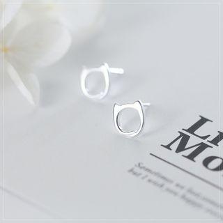 Image of 925 Sterling Silver Cat Stud Earrings