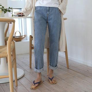 Image of Band-Waist Baggy Jeans