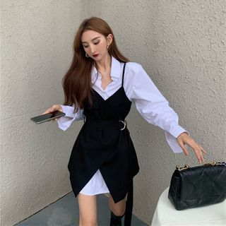 Long-sleeve Mini Shirtdress / Asymmetrical Mini Overall Dress