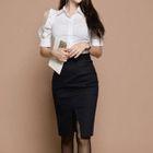 Set: Puff-Sleeve Shirt + Pencil Skirt 1596