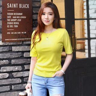 Short-Sleeve Ribbed Slim-Fit T-Shirt 1060205278