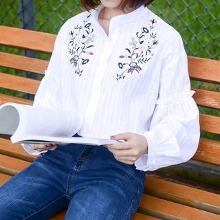 Embroidered Lantern-Sleeve Shirt 1061851308