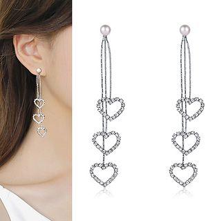 Rhinestone   Sterling   Earring   Silver   Pearl   Heart   Faux   Size   One