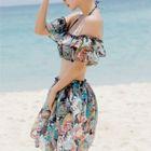 Set: Print Bikini + Off-Shoulder Cropped Cover-Up Top + Skirt 1596