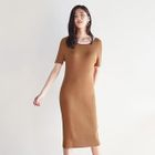Contrast-Trim Ribbed Knit Dress 1596