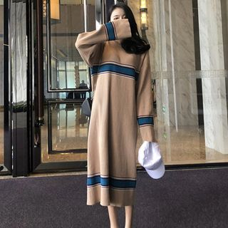 Image of Color Block Midi Sweater Dress