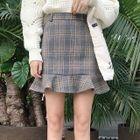 Ruffle Hem Plaid Mini Skirt 1596