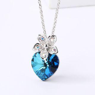 Swarovski   Necklace   Crystal   Floral   Heart   Blue   Size   One
