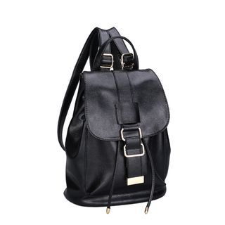 Genuine-Leather Buckle-Detail Drawstring Backpack