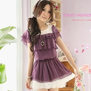 Buy Tokyo Fashion Lace-Panel Ruffle Chiffon Dress 1022898113