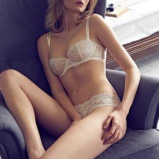 Set: Half Cup Lace Bra + Panties 1057456860