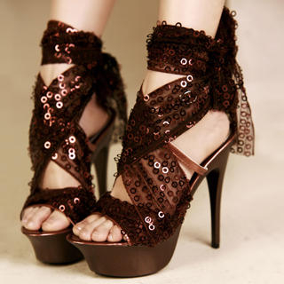 Buy Kvoll Sequined-Tulle Tie-Ankle Platform Sandals 1022991532