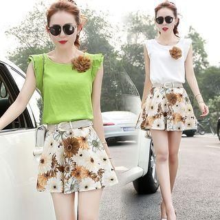 Set: Frilled Trim Top + Floral Skirt 1057586904