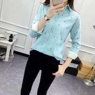Cartoon Print Long-Sleeve Fleece-lined Blouse 1054242451